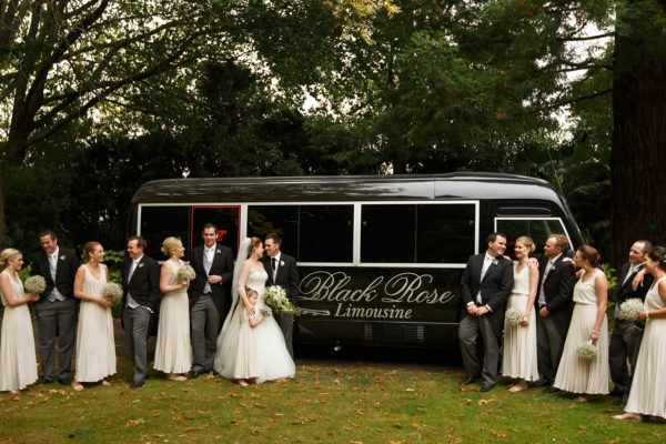 Wedding-Party-outside-Limo